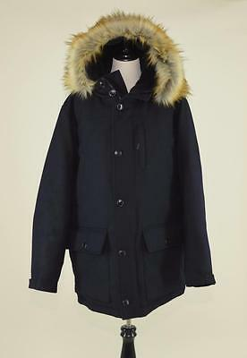New $598 Men's J.crew Nordic Down Parka In Wool W/ Thinsulate Xl Navy Coat F8746
