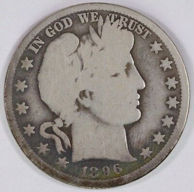 1896-O 50C Silver Barber Half Dollar Toning Date Toned Raw Circulated Coin