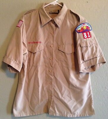 Boy Scouts Of America BSA Cub Scouts Tan Nylon Leader Uniform Shirt Womens Large