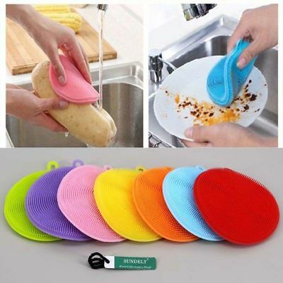 3 x Silicone Sponge Scrubber Kitchen Tool Dish Washing Household Cleaning UK