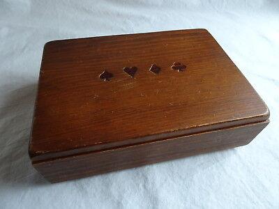 Vintage Wood Handmade Double Deck Playing Card Storage Box, Holds 2 Decks, Suits