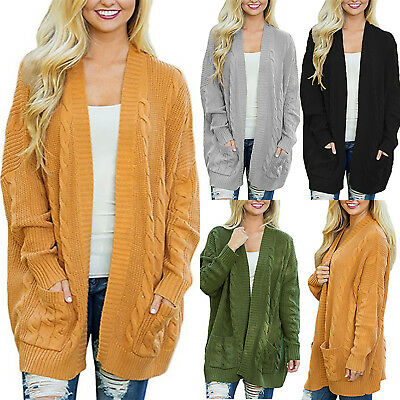 Womens Winter Chunky Knitted Cardigan Ladies Baggy Pocket Jumper Coat Outwear