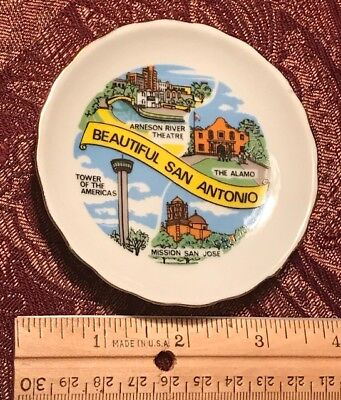Mini Vintage Collectible State Vacation Plate ~ San Antonio TX Texas  #5851