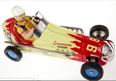 """TIN PLATE CHAMPION RACER WIND UP COLLECTIBLE RACING CAR LARGE QUALITY 21cm 8"""""""