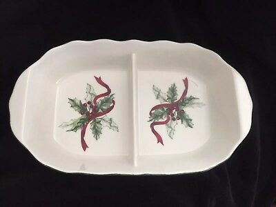 """Charter Club """"WINTER GARLAND"""" 11"""" Oval Divided Vegetable Bowl Ribbon Bows Holly"""