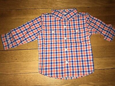 NWT Gymboree Boys Plaid long-sleeved Shirt (blue & orange, 12-18 months)