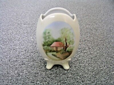 Vintage Hand Painted Bud Flower Vase Cottage Scene