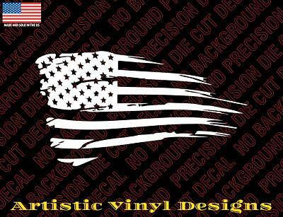 Distressed Tethered Worn American Flag Car or Truck Window Laptop Decal Sticker