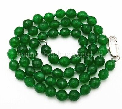"""new Exquisite 6mm Natural Emerald Faceted gemstone Beads manual Necklace 18"""""""