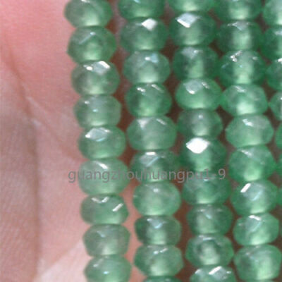 """new 2x4mm Faceted Natural Emerald Abacus Gems Loose Beads 15"""""""