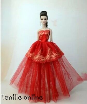 New Barbie clothes outfit princess wedding dress gown red lace and shoes