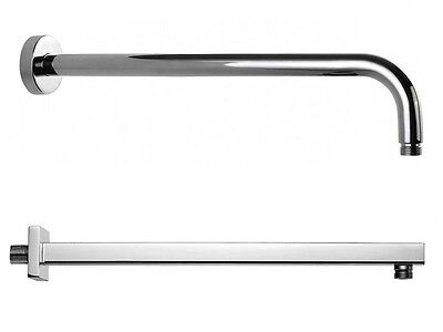 Wall Mounted Chrome Finish Brass 38cm Length Shower Arm Square or Round