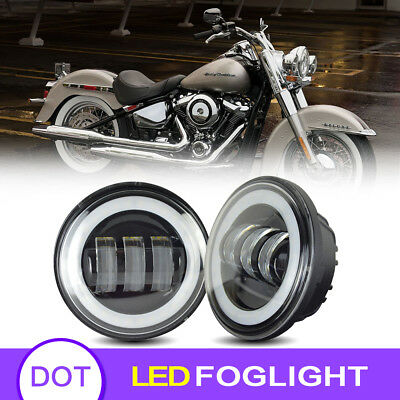 Fit Harley Motorcycle 4.5 Inch LED Fog Light Driving Lights Passing Lamp