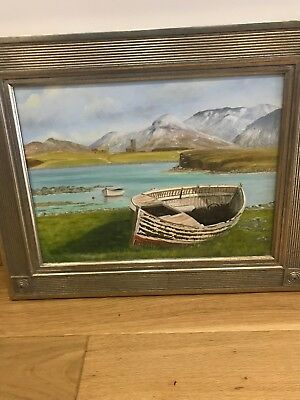 Large Vintage Original Oil On Board Painting, Boats, Costal Mountains Art,Signed
