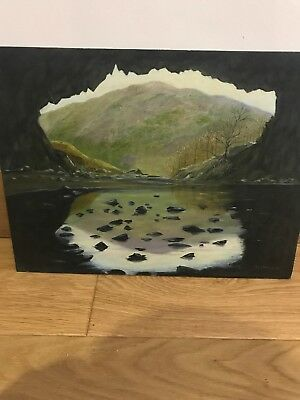 Vintage Original Oil On Board Painting, Lakes And Mountains/  Signed,