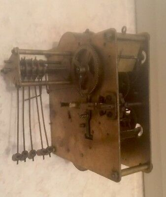 """FHS Mantle Clock Westminster Movement 5""""W 5"""" L For Spare Repair."""