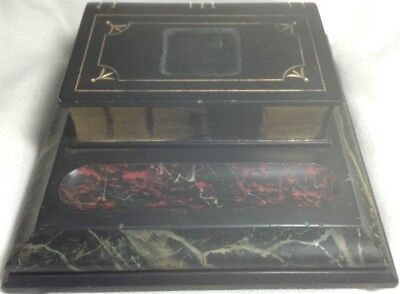 Vintage Heavy Desk Ink Stand Slate & Faux Marble base and slate book Look