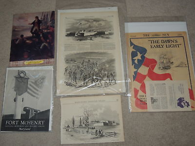 Vintage Lot of Ft. McHenry Star Spangled Banner Ephemera Engravings