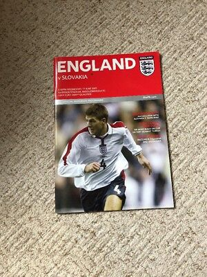 ENGLAND v SLOVAKIA JUNE 11th 2003 - EURO QUALIFIER - VGC PROGRAMME
