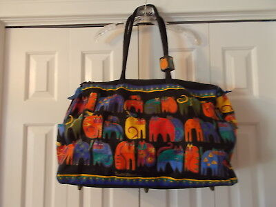 """Large 20"""" Whimsical Laurel BIrch Cat Duffle Tote Bag Canvas Collectible NICE!"""
