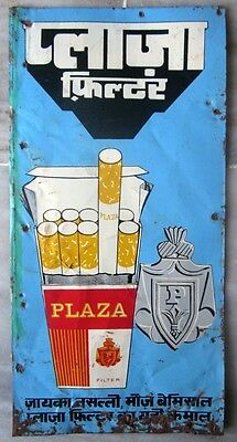 Old vintage Tin Plaza Cigarette sign board from India