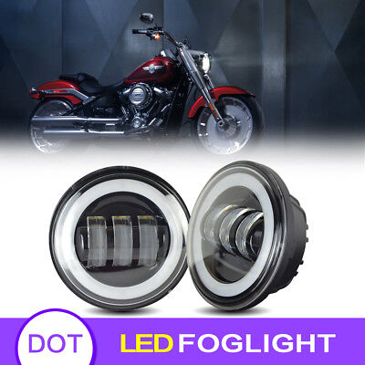 Fit Harley Motorcycle 4.5 Inch LED Fog Light Black Driving Lights Passing Lamp