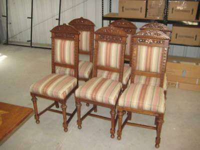 Antique Hand Carved upholstered Dining Chairs Full set of 8 (aka Formal chairs)