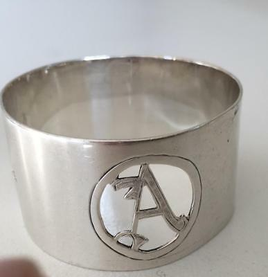 "English Sterling silver napkin ring with a large cut-out initial ""A"""