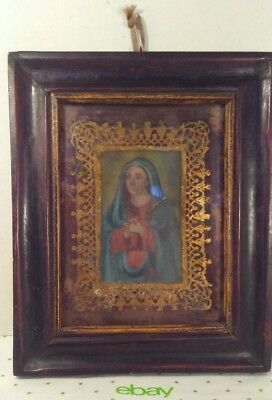 Antique Reverse Painting On Glass Virgin Mother Mary Ornate Gold Gilt Religious