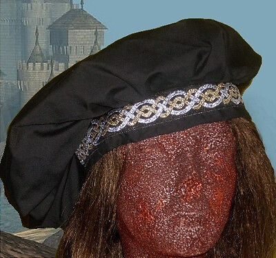 Tudor Renaissance Medieval SCA Garb Costume Muffin Hat 22-23 Black or CHOICE Clr