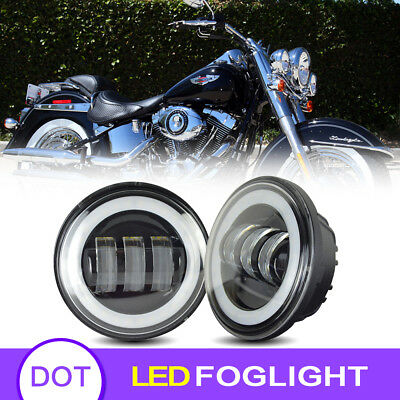 Fit Harley Motorcycle 4.5 Inch LED Fog Light Driving Lights Passing Lights