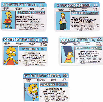 5 fun novelty drivers license  The SIMPSONS Homer Simpson Marge Bart Lisa Maggie