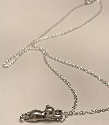 "18"" Chain Sterling Silver Love Cute Cat Disney Kitty Pendant Necklace NWOT"