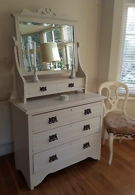 Stunning Painted Vintage Chest of Drawers with Mirror Dressing Table Fired Earth