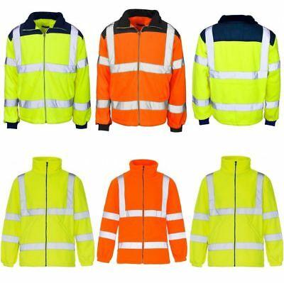 Mens Hi Vis Viz Visibility Fleece Jacket Rain Patch Zip Safety Work Warm Big Siz