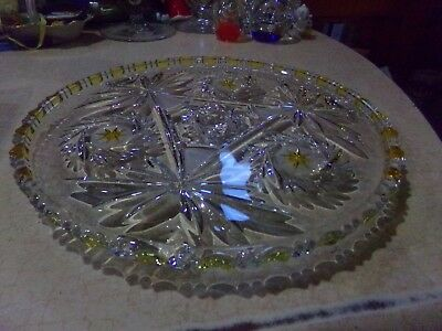 Vintage Walther Mikasa Crystal & Yellow Stain Buzz Saw Footed Cake Plate Germany