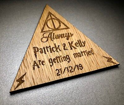 8cm Personalised Wooden Always Wedding Save The Date Magnet Invites Harry Potter