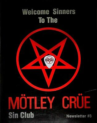 MOTLEY CRUE S.I.N. Club Newsletter #3 (1983) EXTREMELY RARE! + NEW Guitar Pick