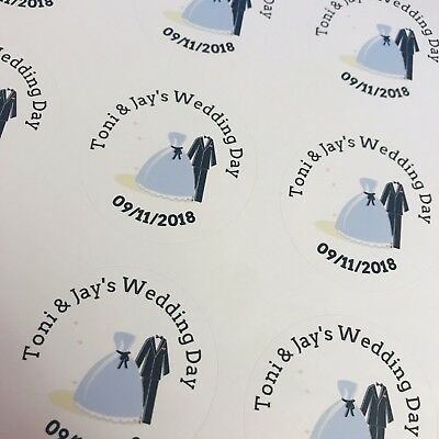 48 Personalised Round Wedding Stickers/Labels Envelopes Seals Heart Ring 40mm