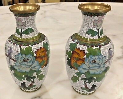 "Pair of Vintage Chinese Cloisonne Copper Floral Vases.  9-1/2"" Height"
