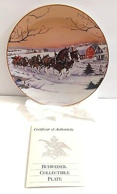 Budweiser Collectible Plate American Homestead Clydesdales Raedeke #2970 NEW Box