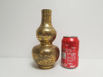 Late 19C Chinese Bronze Double Gourd Shaped Vase Immortal pos/Tongzhi Seal Mark