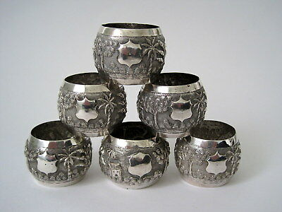 SUPERB SET of SIX INDIAN STERLING SILVER NAPKIN RINGS