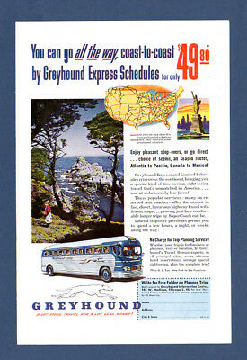 Greyhound Coaches Coast To Coast Original Retro Vintage Advert 1951 1950's
