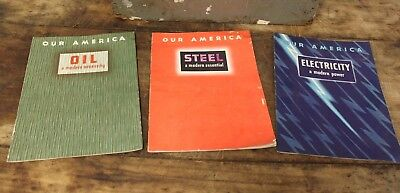 Lot Of 3 1943 Our America Educational Books From Coca Cola OIL STEEL ELECTRICITY