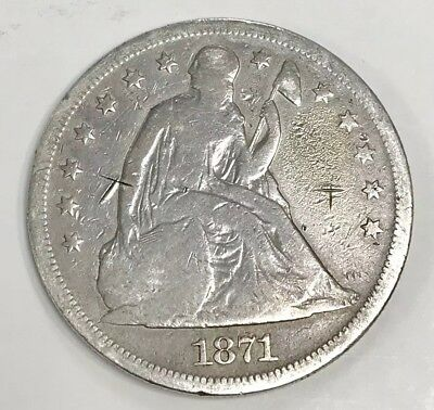 Beautiful 1871 Seated Liberty Silver Dollar - rare date