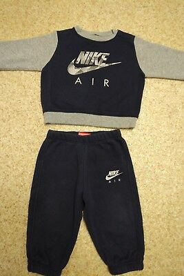 61b1a8ad417ede 9-12 Months Boys Nike Air Tracksuit Top And Matching Bottoms Navy And Grey