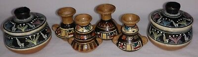 Vintage Miniature African Pottery Hand Painted Red Clay