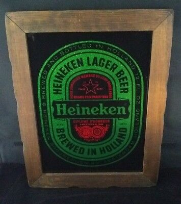 vintage HEINEKEN Lager Beer BAR SIGN green glitter foil glass wood frame