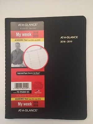 NEW At-A-Glance Weekly Academic Planner Calendar July2018-July2019  Medium 6.75